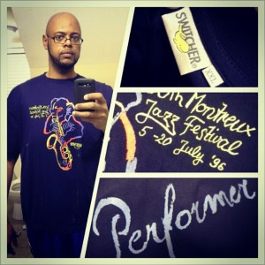 """While cleaning out my closet early this morning I found my 1996 Montreal Jazz Festival tee-shirt. The shirt was given to all of the members of the NCCU Jazz Band who travelled to Switzerland and performed that year. As always the shirt was too small and ended up in my """"one day I will wear it"""" section of my closet. Over the years the shirt ended up being a constant reminder of good days in the band, a great trip to Switzerland but also a feeling that I was once again not able to wear what everybody else could. Fast forward 16 years and at this point of my #weightloss journey I can finally wear a shirt that was too small so many years ago. Looking forward to what comes next. #exercise #medifast #determination #nccu #jazz"""